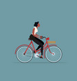 vintage style woman riding a bicycle vector image vector image