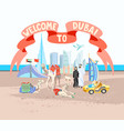 welcome to dubai ribbon poster with hand drawing vector image vector image
