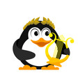 young penguin with lyre cartoon image of a small vector image vector image