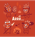 set of stone age tribe people in masks vector image
