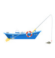 cartoon fishing boat isolated on white background vector image