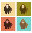 assembly flat icons nature cartoon monkey vector image vector image