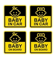 Baby on Board Sign Set White Background vector image vector image
