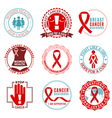 Breast Cancer Emblems Logo Set vector image vector image