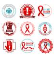 Breast Cancer Emblems Logo Set vector image vector image