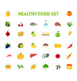 cartoon healthy food signs color icons big set vector image vector image