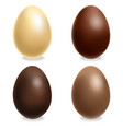 chocolate eggs set realistic white milk vector image vector image