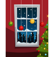 Christmas night with tree and window vector image