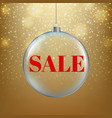 christmas sale poster with golden background vector image vector image