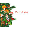 christmas with sweets and fir vector image vector image