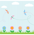 Colorful dragonflies and flowers vector | Price: 1 Credit (USD $1)