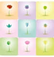 colorful flowers abstract icons for background vector image vector image