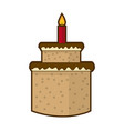 cream birthday cake with burning candles vector image