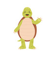 cute and funny green turtle waving hand and saying vector image vector image