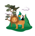 cute bird toucan with lion in the landscape vector image