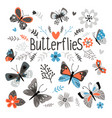 cute butterflies and pretty flowers vector image