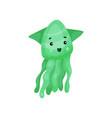cute green octopus cartoon character funny vector image vector image