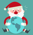 Cute Santa Sitting and Holding the World vector image