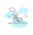 cute ship in sea print for boy black line boat vector image