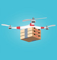 delivery drone with the boxes of hot pizza vector image vector image