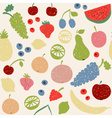 Doodle fruits seamless pattern in retro colors vector image