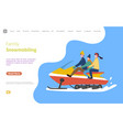 family on snowmobile snowmobiling activity web vector image