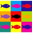 Fish sign Pop-art style icons set vector image