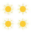 four yellow sun icons in flat design vector image vector image