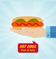 hand giving hot dog fast food concept vector image