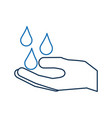 hand with water drop clean hygiene symbol vector image vector image