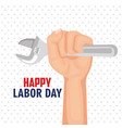 Happy labor day hand worker holding tool poster
