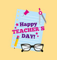happy teacher day card lettering paper pancil vector image