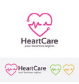heart care logo design vector image vector image