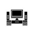 home cinema black icon sign on isolated vector image