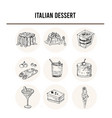 italian dessert set with food and drink vector image