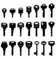 key black silhouette a set keys in silhouette vector image vector image