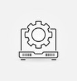 laptop with cog wheel line icon - computer vector image