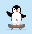 little penguin on skateboarder vector image vector image