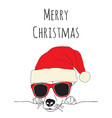 merry christmas and dog wearing santa hat and vector image vector image