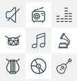 music icons line style set with gramophone mixer vector image