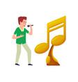 music notes golden trophy award singer microphone vector image vector image