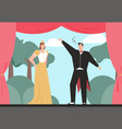 opera singers playing in performance on stage of vector image