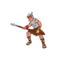 Orc Warrior Thrusting Spear Cartoon vector image vector image