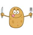 Potato Cartoon Holding Cutlery vector image vector image