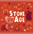 prehistoric stone age print in cartoon vector image vector image