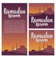 ramadan kareem lettering with minarets crescent vector image
