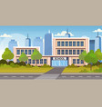 school building exterior road crosswalk back to vector image
