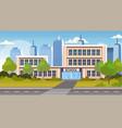 school building exterior road crosswalk back vector image vector image