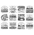 sea and river fishing sport icons vector image