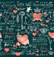 seamless pattern on theme valentines day vector image vector image